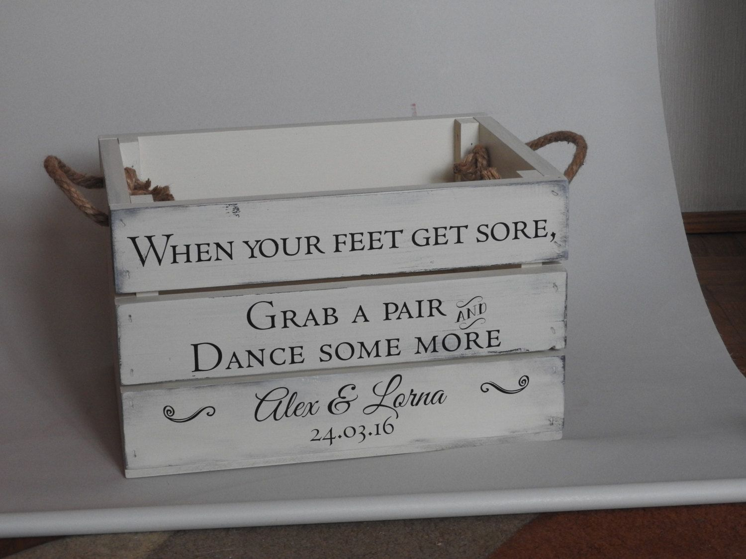 wedding flip flop crate